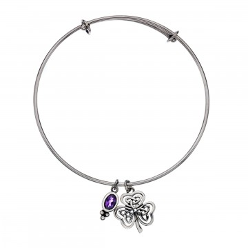 Celtic Shamrock Amethyst Charm Sterling Silver Bangle