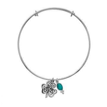 Celtic Shamrock Turquoise Charm Sterling Silver Bangle