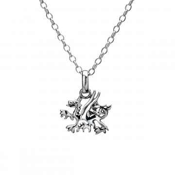 Simple Celtic Welsh Dragon Sterling Silver Pendant Necklace