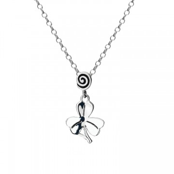 Celtic Shamrock & Spiral Sterling Silver Pendant Necklace