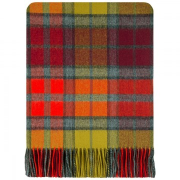 100% Lambswool Blanket in Buchanan Berry by Lochcarron of Scotland