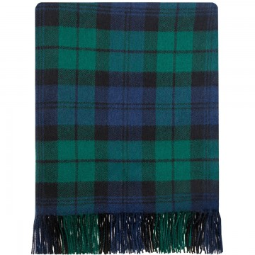 100% Lambswool Blanket in Black Watch Modern by Lochcarron of Scotland