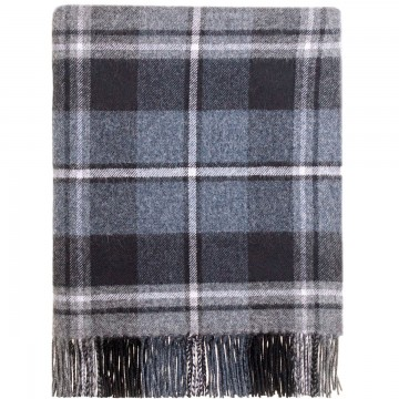 100% Lambswool Blanket in Mcrae Grey Hunting by Lochcarron of Scotland