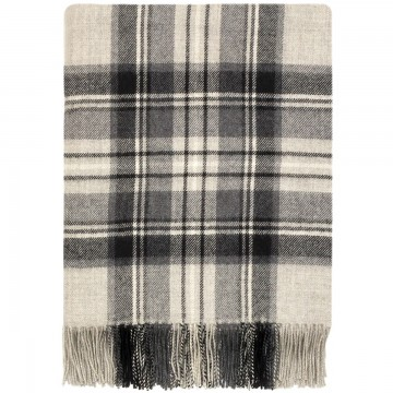 100% Lambswool Blanket in Stewart Grey by Lochcarron of Scotland