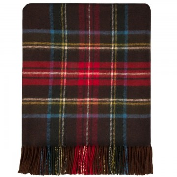100% Lambswool Blanket in Brown Stewart Antique by Lochcarron of Scotland