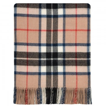 100% Lambswool Blanket in Camel Thomson by Lochcarron of Scotland