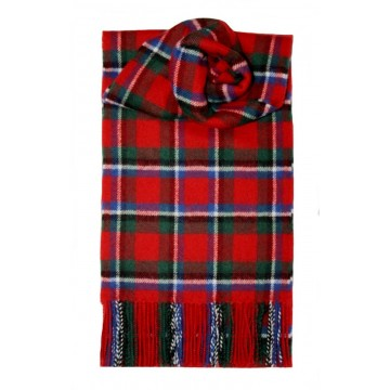 Sinclair Red Modern Tartan 100% Lambswool Scarf by Lochcarron