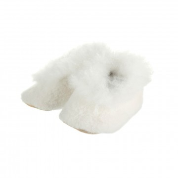Alpaca Baby Bootees with Merino Fleece - Ivory