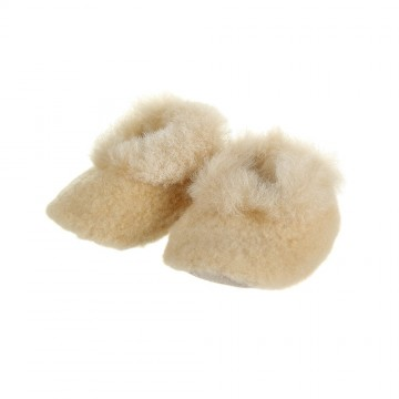 Alpaca Baby Bootees with Merino Fleece - Champagne