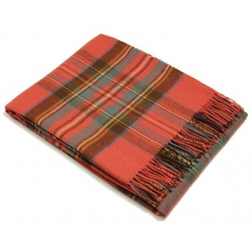 Bronte by Moon 100% Lambswool Tartan Throw - Antique Royal Stewart