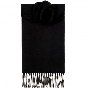 Black Plain Coloured 100% Lambswool Scarf by Lochcarron