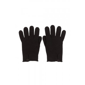 Cashmere Button Loop Glove - Black