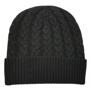 The Scarf Company Black Cashmere 3ply Cable Knit Beanie Hat