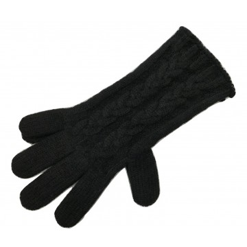 The Scarf Company Black 3 Ply Cable Knit Cashmere Ladies Gloves