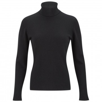 Black Ladies' Roll Neck - 100% Cashmere Made in Scotland