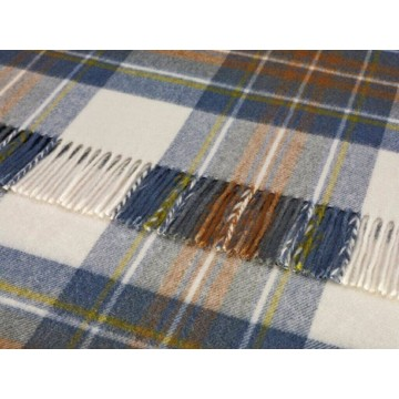 Bronte by Moon 100% Lambswool Tartan Throw - Muted Blue Stewart