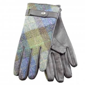 Failsworth Harris Tweed Ladies' Gloves - Blue/Green Tartan Check