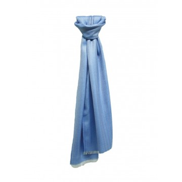 Sinclair Duncan Bright Blue Plain Herringbone Cashmere and Silk Lightweight Scarf