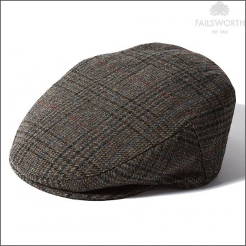 Failsworth Cambridge Cap - Made with Moon Wool - Brown Houndstooth Check