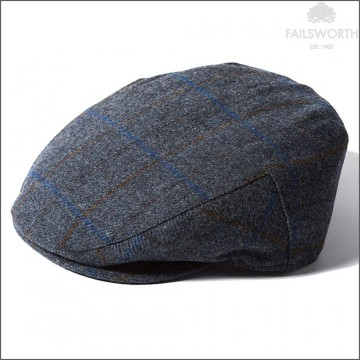Failsworth Cambridge Cap - Made with Moon Wool - Blue Windowpane Check