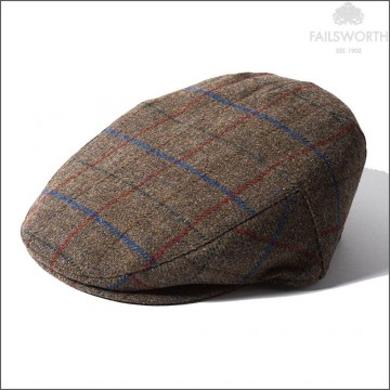 Failsworth Cambridge Cap - Made with Moon Wool - Brown Windowpane Check