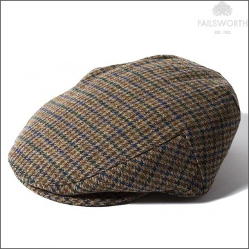Failsworth Cambridge Cap - Made with Moon Wool - Green/Navy Houndstooth Check