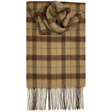 Camel Check Tartan 100% Cashmere Scarf by Lochcarron of Scotland