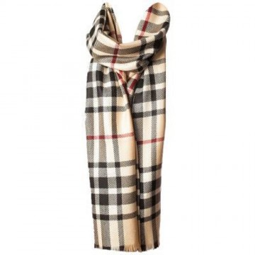 Sinclair Duncan Camel Thomson Tartan Cashmere and Silk Lightweight Scarf
