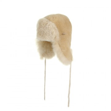 Alpaca Fur Child Trapper Hat - Champagne