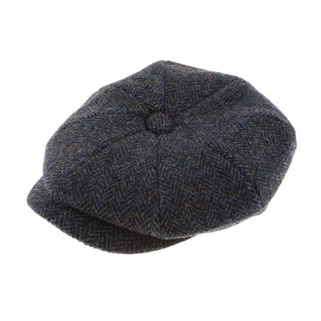 Failsworth Carloway Bakerboy Hat in Grey Herringbone 2012 Harris Tweed