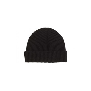 Cashmere Ribbed Hat - Black