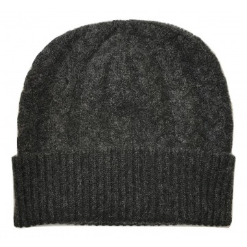 The Scarf Company Charcoal Cashmere 3ply Cable Knit Beanie Hat