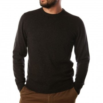 Charcoal Men's Crew Sweater - 100% Cashmere Made in Scotland