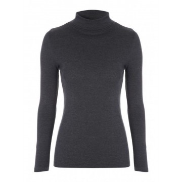 Charcoal Ladies' Roll Neck - 100% Cashmere Made in Scotland