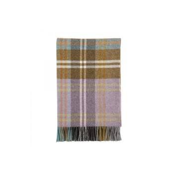 Johnston's of Elgin Lambswool Tartan Throw - Green