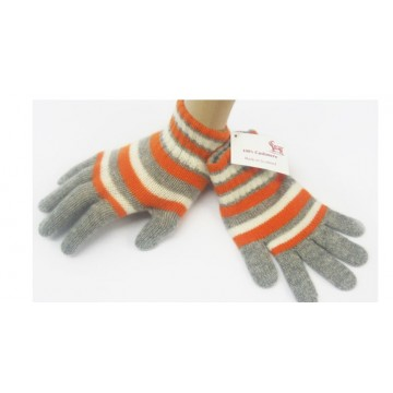 Orange & Grey Cashmere Children's Gloves from The Scarf Company