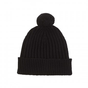 Cashmere Chunky Rib Hat - Black