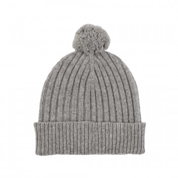 Cashmere Chunky Rib Hat - Light Grey