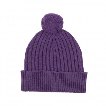 Cashmere Chunky Rib Hat - Purple