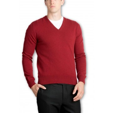 Claret Men's V-Neck Sweaters - 100% Cashmere Made in Scotland