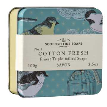 Cotton Fresh Scottish Fine Soap in a Tin - 100g Triple Milled