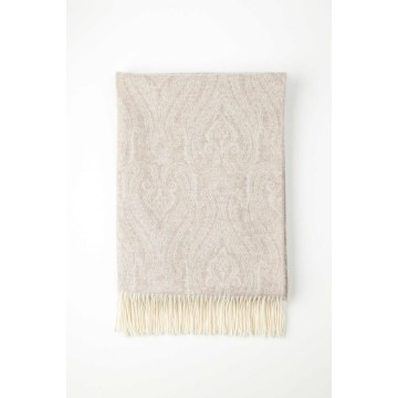 Johnstone's of Elgin Cashmere Paisley Throw - Beige