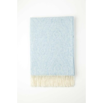 Johnston's of Elgin Cashmere Paisley Throw - Duck Egg