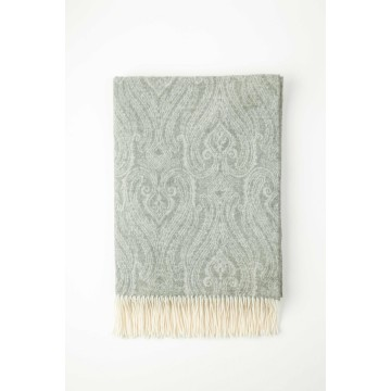 Johnston's of Elgin Cashmere Paisley Throw - Grey