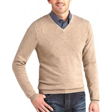 Beige Men's V-Neck Sweaters - 100% Cashmere Made in Scotland