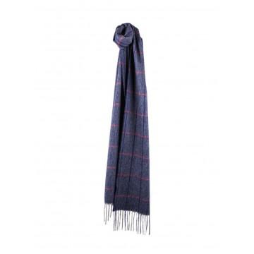 Sinclair Duncan Herringbone Woven Cashmere Scarf - Dark Blue
