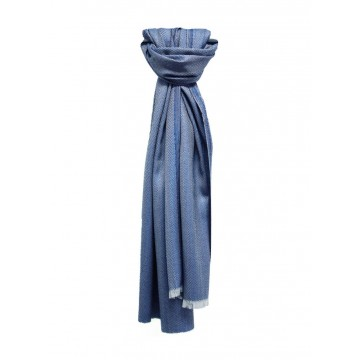 Sinclair Duncan Dark Blue Plain Herringbone Lightweight Cashmere and Silk Scarf