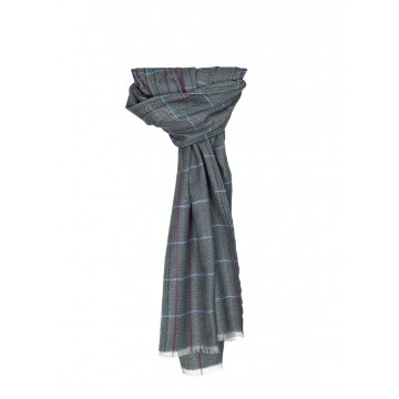 Sinclair Duncan Dark Grey Herringbone Lightweight Cashmere and Silk Scarf
