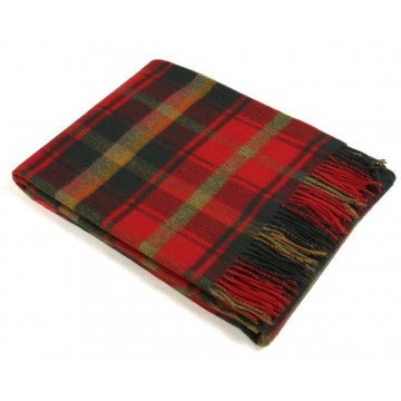 Bronte by Moon 100% Lambswool Tartan Throw - Dark Maple