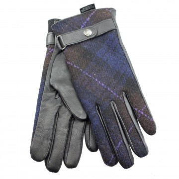Failsworth Harris Tweed Ladies' Gloves - Navy/Brown Tartan Check